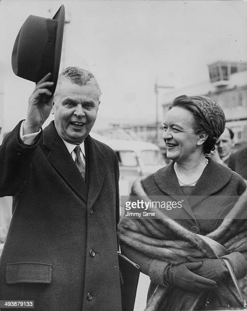 Canadian Prime Minister John Diefenbaker and his wife arriving at London Airport on an official visit London April 29th 1960