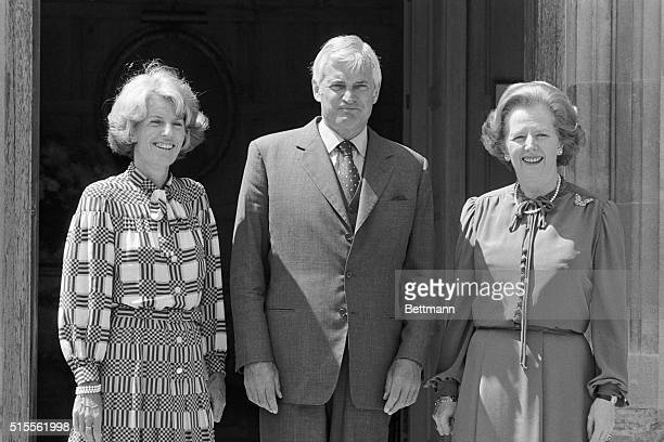 Canadian Prime Minister John Turner with British Prime Minister Margaret Thatcher on the front steps of Mrs Thatcher's country home in Chequers where...