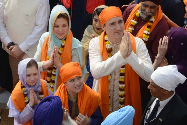 Canadian Prime Minister Justin Trudeau along with his wife Sophie Gregoire and their daughter EllaGrace and son Xavier pay their respects at the Sikh.