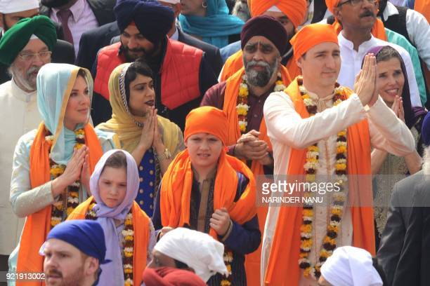 Canadian Prime Minister Justin Trudeau along with his wife Sophie Gregoire and their daughter EllaGrace and son Xavier pay their respects at the Sikh...