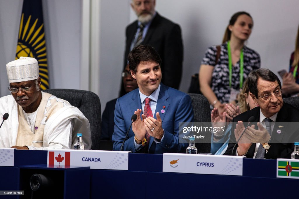 Canadian Prime Minister Justin Trudeau (C) and Cypriot President Nicos Anastasiades (R) attend the first executive session of the 'Commonwealth Heads of Government Meeting' (CHOGM) at Lancaster House on April 19, 2018 in London, England. The UK is hosting the heads of state and government from the Commonwealth nations this week.