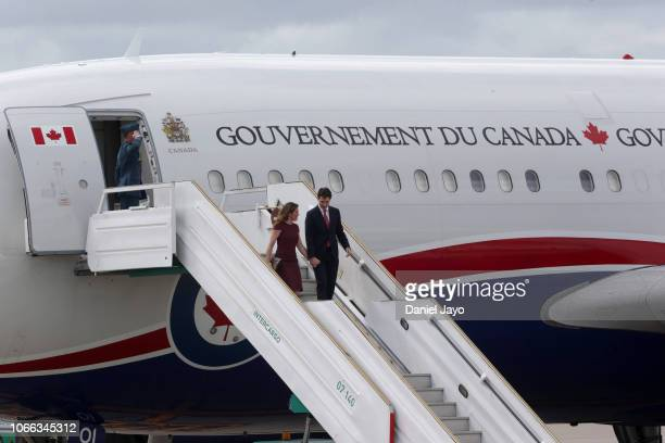 Canadian Prime Minister Justin Trudeau and First Lady of Canada Sophie Gregoire Trudeau get off a plane on their arrival to Buenos Aires for G20...