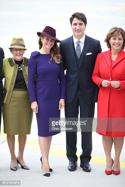 Canadian Prime Minister Justin Trudeau and his wife Sophie Gregoire-Trudeau at the Victoria Airport to greet the British Royal Family on September...