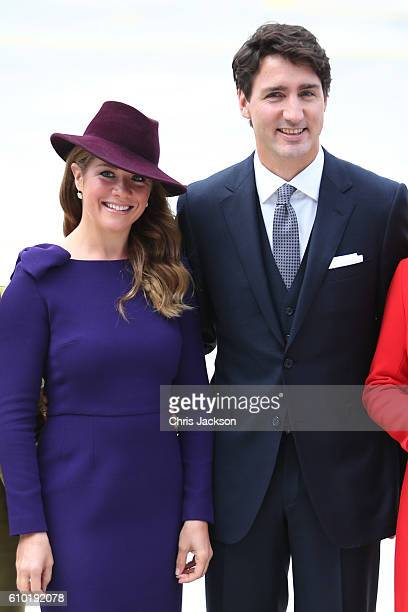 Canadian Prime Minister Justin Trudeau and his wife Sophie GregoireTrudeau at the Victoria Airport to greet the British Royal Family on September 24...