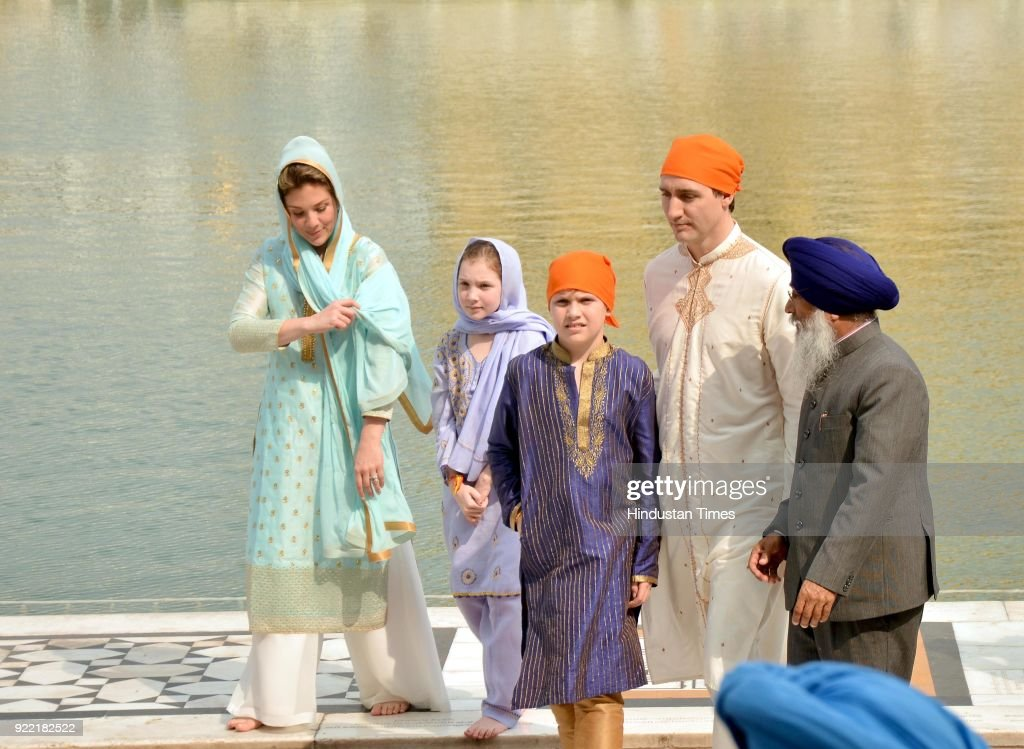 Canadian Prime Minister Justin Trudeau and his wife Sophie Gregoire Trudeau with their son Xavier and daughter EllaGrace paying obeisance on February.