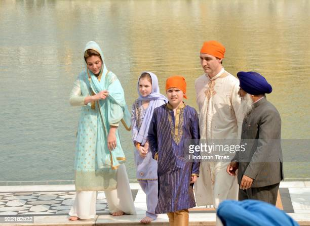 Canadian Prime Minister Justin Trudeau and his wife Sophie Gregoire Trudeau with their son Xavier and daughter Ella-Grace paying obeisance, on...