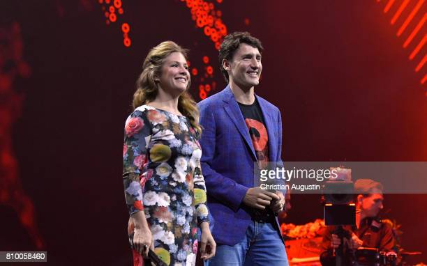 Canadian Prime Minister Justin Trudeau and his wife Sophie GregoireTrudeau speak during the Global Citizen Festival at the Barclaycard Arena on July...