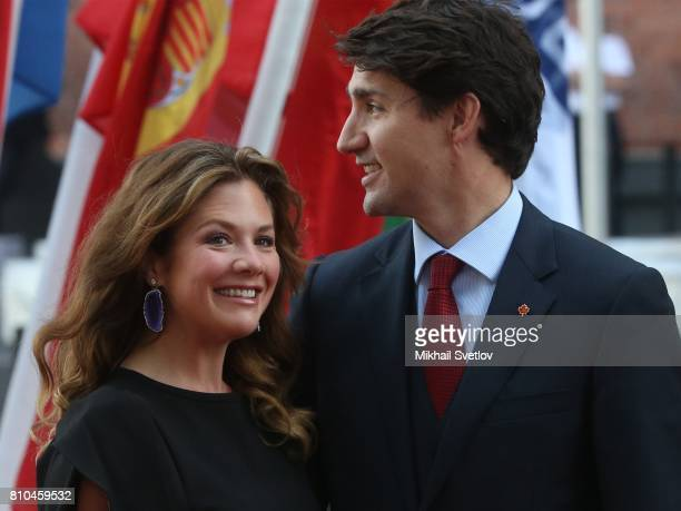 Canadian Prime Minister Justin Trudeau and his wife wife Sophie Gregoire arrive to the Elbphilharmone for the dinner during the G20 Summit on...
