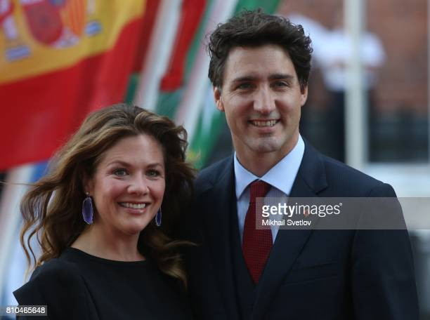 Canadian Prime Minister Justin Trudeau and his wife wife Sophie Gregoire arrive to the Elbphilharmone for the dinner during the G20 Summit on July...