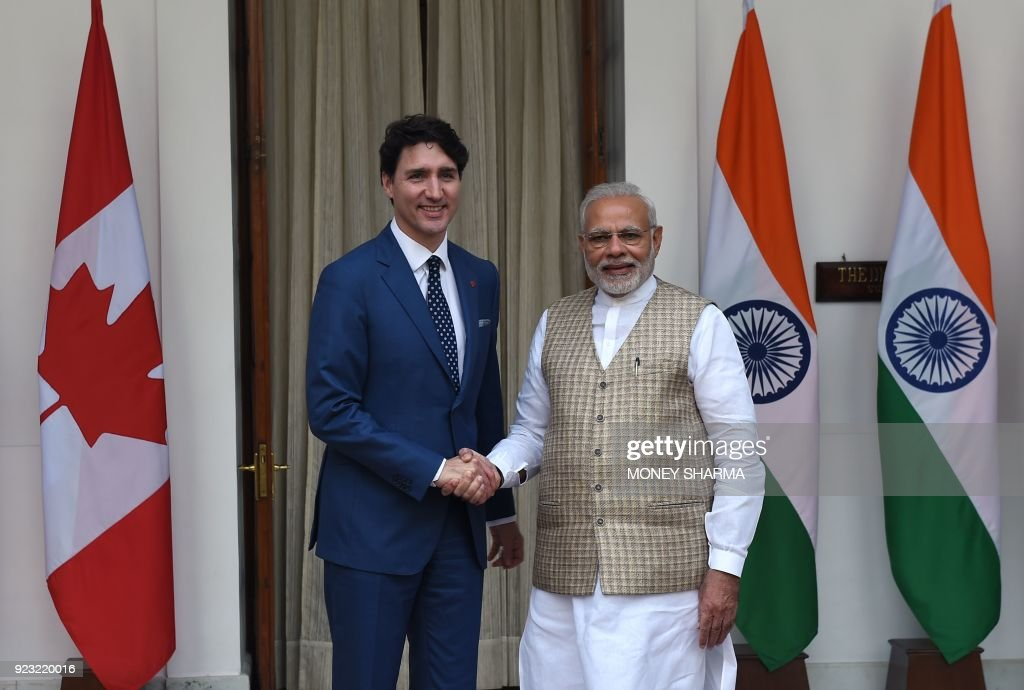 Prime Minister Narendra Modi Welcomes Canadian Prime Minister Justin Trudeau And His Family During Ceremonial Reception