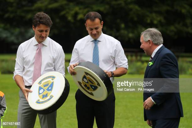 Canadian Prime Minister Justin Trudeau and Irish Taoiseach Leo Varadkar are each given a Bodhran after holding a press conference at Farmleigh House...