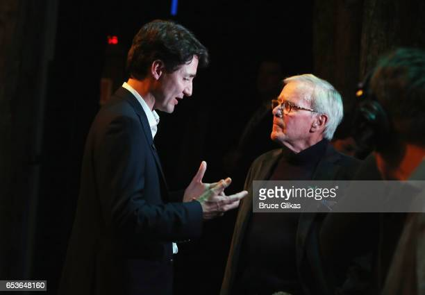 Canadian Prime Minister Justin Trudeau and Television Journalist/Author Tom Brokaw chat backstage at the hit musical 'Come from Away' on Broadway at...