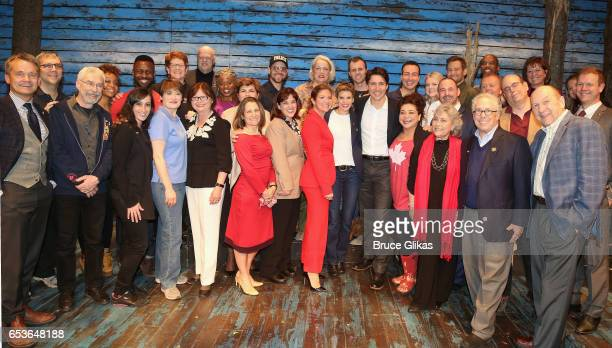 Canadian Prime Minister Justin Trudeau and wife Sophie Gregoire Trudeau pose backstage with the cast and crew of the hit musical 'Come from Away' on...