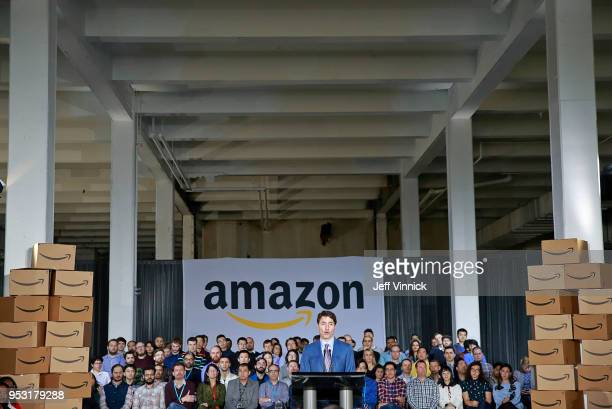Canadian Prime Minister Justin Trudeau announces a new Amazon Vancouver headquarters to bring 3000 jobs during a press conference April 30 2018 in...