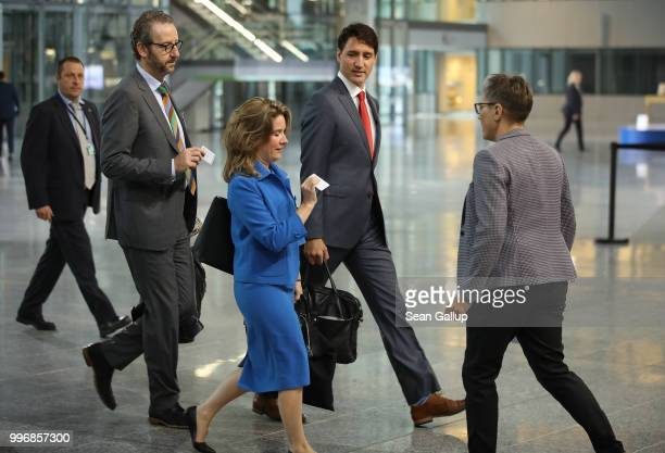 Canadian Prime Minister Justin Trudeau arrives at a working session of NATO leaders and the delegations from Ukraine and Georgia at the 2018 NATO...