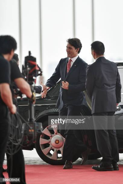 Canadian Prime Minister Justin Trudeau arrives at the Hangzhou Exhibition Center to participate in the G20 Summit in Hangzhou on September 4, 2016....