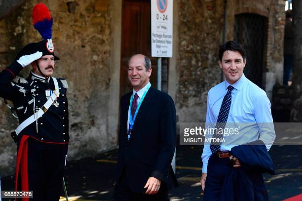 Canadian Prime Minister Justin Trudeau arrives at the Hotel San Domenico on the second day of the G7 summit of Heads of State and of Government, on...