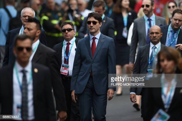 Canadian Prime Minister Justin Trudeau arrives for the Summit of the Heads of State and of Government of the G7 the group of most industrialized...
