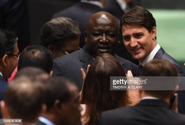 Canadian Prime Minister Justin Trudeau arrives to address the Nelson Mandela Peace Summit September 24 2018 a day before the start of the General...