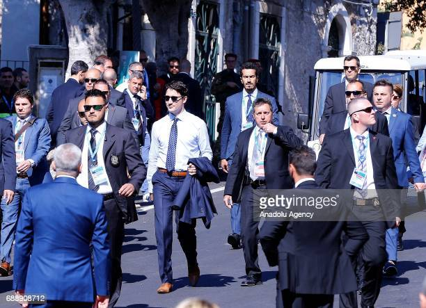 Canadian Prime Minister Justin Trudeau arrives to attend ''Innovation and Development in Africa'' session on the second day of G7 Taormina summit on...