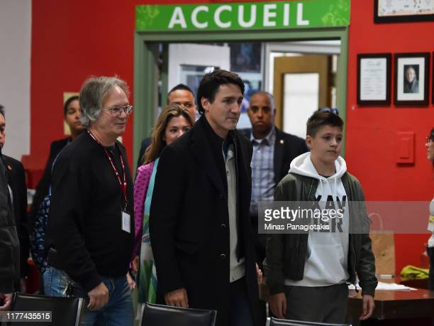 Canadian Prime Minister Justin Trudeau arrives with his wife Sophie Gregoire Trudeau and son Xavier Trudeau to cast his vote on election day at a...