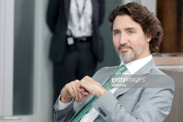 Canadian Prime Minister Justin Trudeau attends a plenary session during G7 summit in Carbis Bay on June 13, 2021 in Cornwall, United Kingdom. UK...