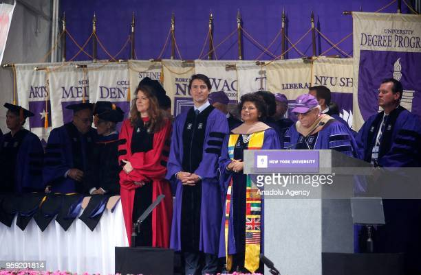 Canadian Prime Minister Justin Trudeau attends New York University's commencement ceremony at Yankee Stadium in New York United States on May 16 2018