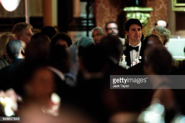 Canadian Prime Minister Justin Trudeau attends the Queen's Dinner at Buckingham Palace in the week of the 'Commonwealth Heads of Government Meeting'...