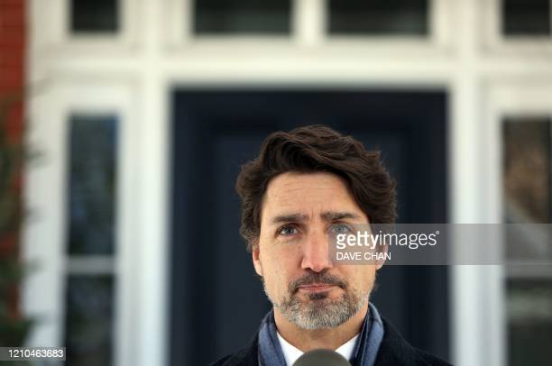 Canadian Prime Minister Justin Trudeau comments on the shooting in Nova Scotia during a news conference April 20 2020 in Ottawa Canada Canadian Prime...