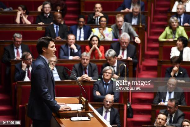 Canadian Prime Minister Justin Trudeau delivers a speech at the French National Assembly in Paris on April 17 as part of his twoday official visit to...