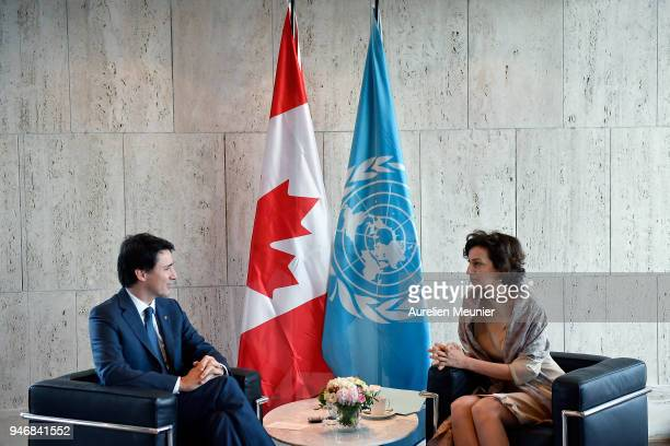 Canadian Prime Minister Justin Trudeau during a meeting with President of Unesco Audrey Azoulay at UNESCO on April 16 2018 in Paris France Justin...