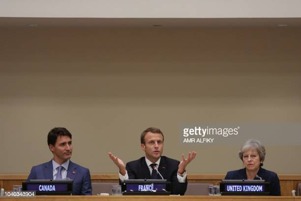 Canadian Prime Minister Justin Trudeau French President Emmanuel Macron and British Prime Minister Theresa may attend a Girl Education event at UN...