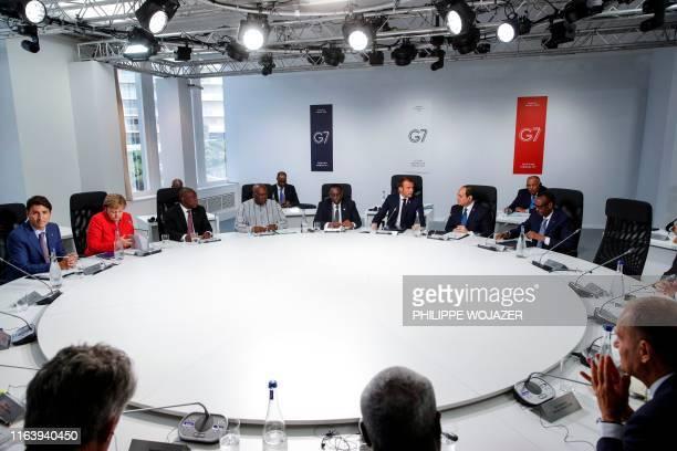 Canadian Prime Minister Justin Trudeau German Chancellor Angela Merkel South African President Cyril Ramaphosa President of Burkina Faso Roch Marc...