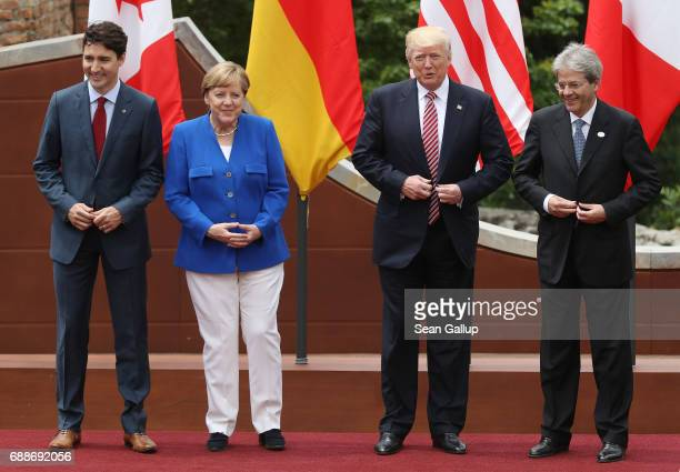 Canadian Prime Minister Justin Trudeau German Chancellor Angela Merkel US President Donald Trump and Italian Prime Minister Paolo Gentiloni arrive...
