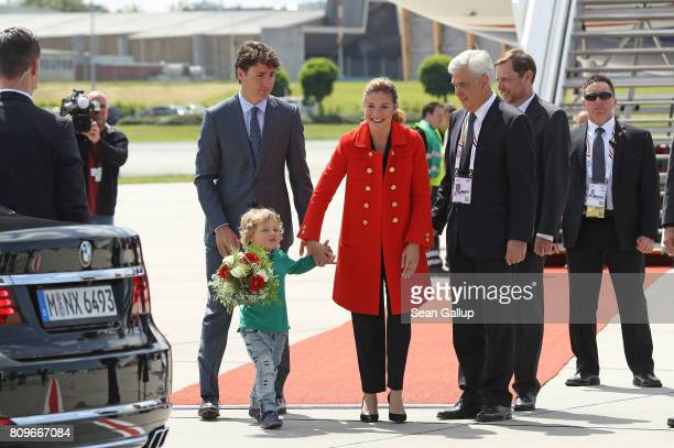 Canadian Prime Minister Justin Trudeau, his wife Sophie Gregoire and son Hadrien arrive at Hamburg Airport for the Hamburg G20 economic summit on...