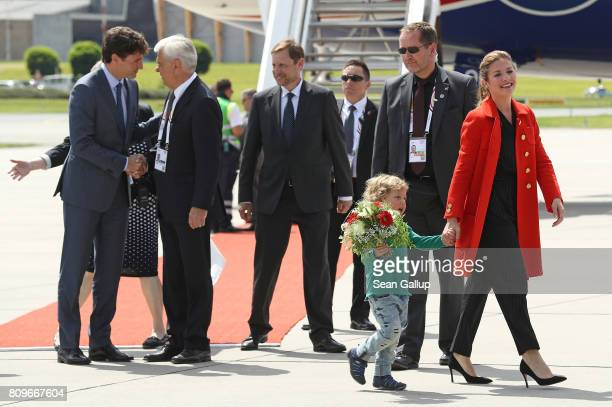 Canadian Prime Minister Justin Trudeau , his wife Sophie Gregoire and son Hadrien arrive at Hamburg Airport for the Hamburg G20 economic summit on...