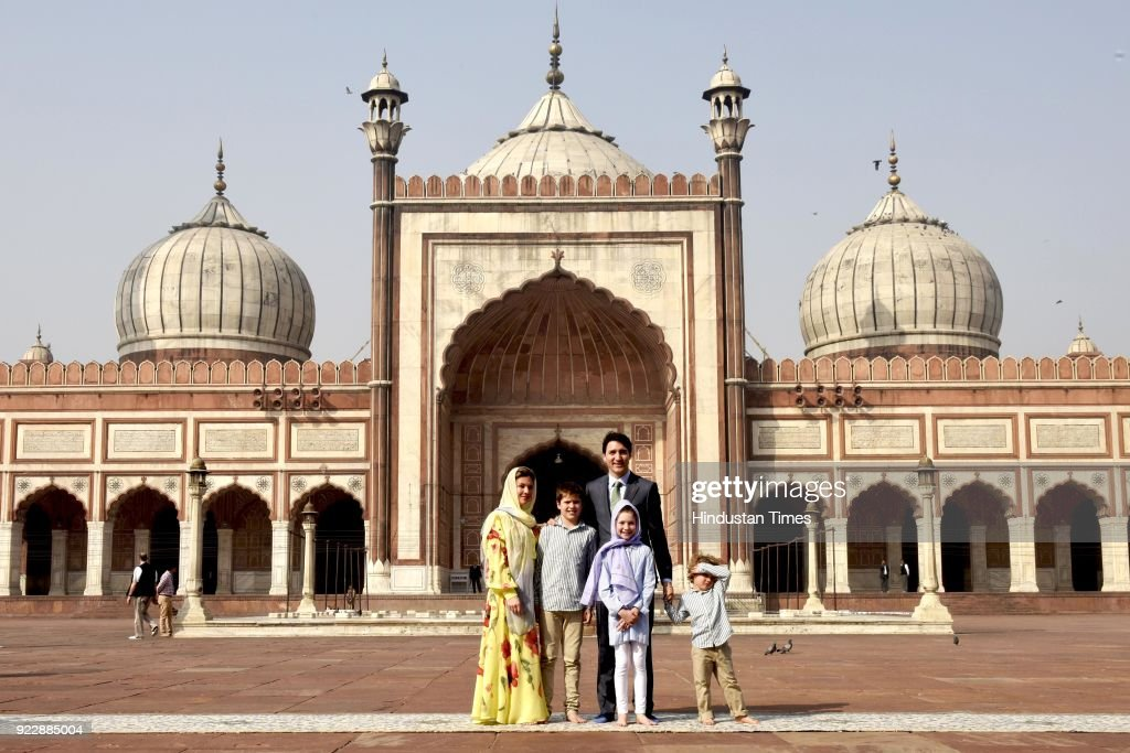 Canadian Prime Minister Justin Trudeau, his wife Sophie Gregoire, their daughter Ella Grace and sons Hadrien and Xavier pose for a photograph during their visit to the Jama Masjid on February 22, 2018 in New Delhi, India.