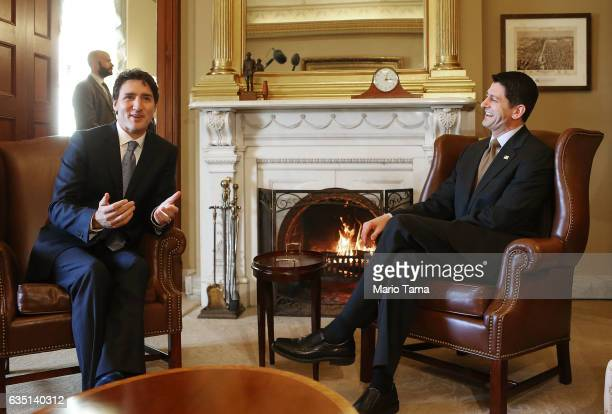 Canadian Prime Minister Justin Trudeau is greeted by House Speaker Paul Ryan on Capitol Hill on February 13 2017 in Washington DC The two held a...