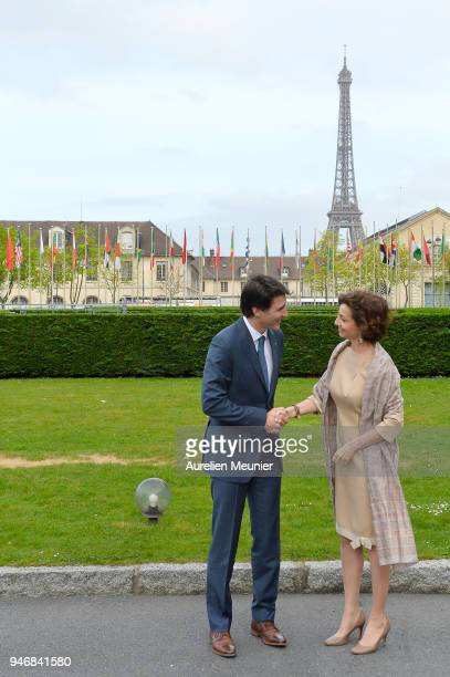 Canadian Prime Minister Justin Trudeau is welcomed by the President of Unesco Audrey Azoulay at UNESCO on April 16 2018 in Paris France Justin...