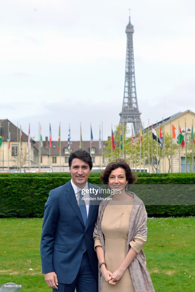 Canadian Prime Minister Justin Trudeau is welcomed by the President of Unesco Audrey Azoulay at UNESCO on April 16, 2018 in Paris, France. Justin Trudeau is on a 3 day visit to France.