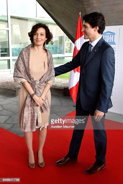 Canadian Prime Minister Justin Trudeau leaves after a meeting with President of Unesco Audrey Azoulay at UNESCO on April 16 2018 in Paris France...