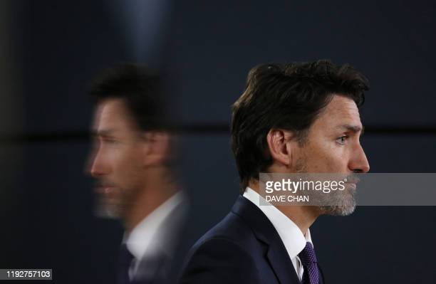 Canadian Prime Minister Justin Trudeau listens to a question during a news conference January 9, 2020 in Ottawa, Canada. - Prime Minister Justin...