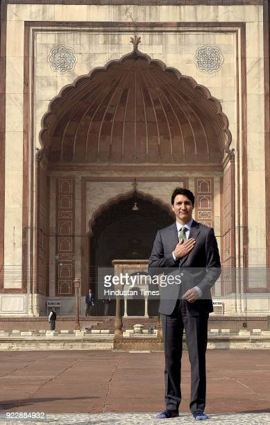 Canadian Prime Minister Justin Trudeau poses for a photograph during his visit to the Jama Masjid with his family on February 22 2018 in New Delhi...
