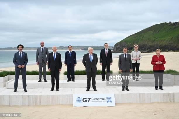 Canadian Prime Minister Justin Trudeau, President of the European Council Charles Michel, US President Joe Biden, Japanese Prime Minister Yoshihide...