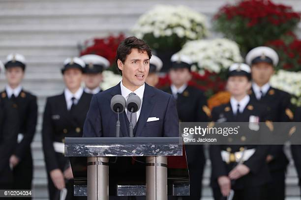 Canadian Prime Minister Justin Trudeau speaks at the Official Welcome Ceremony for the Royal Tour at the British Columbia Legislature on September 24...
