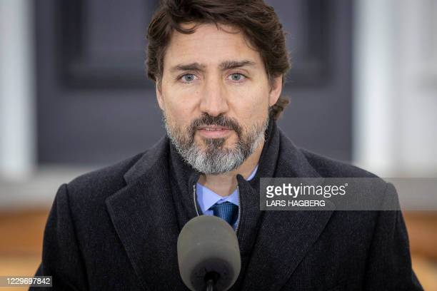 Canadian Prime Minister Justin Trudeau speaks during a Covid-19 pandemic briefing from Rideau Cottage in Ottawa on November 20, 2020.