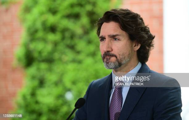 Canadian Prime Minister Justin Trudeau speaks during a news conference at Rideau Cottage June 25, 2021 in Ottawa, Canada. - Prime Minister Justin...