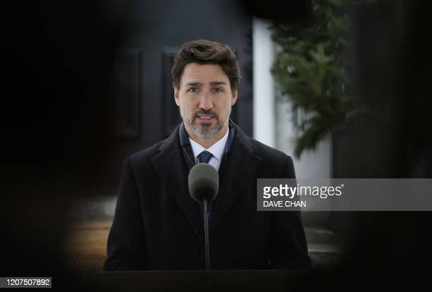 Canadian Prime Minister Justin Trudeau speaks during a news conference on COVID-19 situation in Canada from his residence March 17, 2020 in Ottawa,...