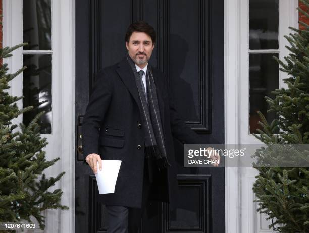 Canadian Prime Minister Justin Trudeau speaks during a news conference on COVID19 situation in Canada from his residence March 19 2020 in Ottawa...