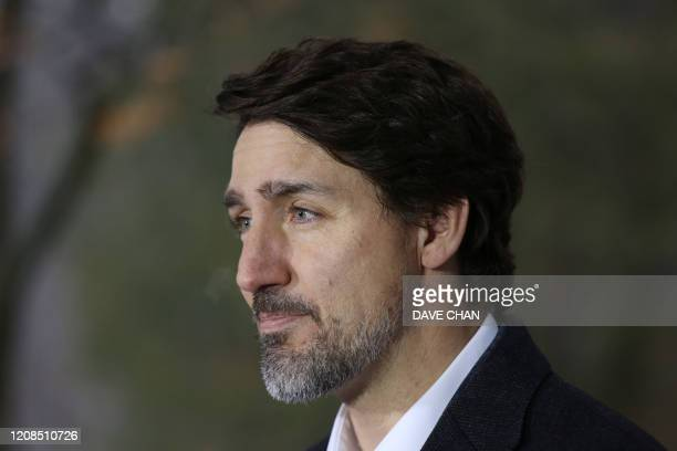 Canadian Prime Minister Justin Trudeau speaks during a news conference on COVID19 situation in Canada from his residence March 29 2020 in Ottawa...